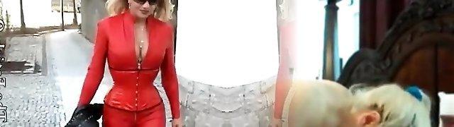Latex erotic porno video with slut dressed in red