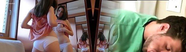 Defloration - Katy flashes virgin pussy