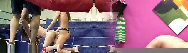 Wrestling dyke strapon drilled from behind