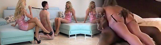 Blonde high heeled nymphs ballbusting junior man