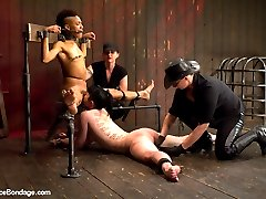 Nikki and Katharine are two of our toughest models and their live show was a solid example of what these bitches can take. In scene one they are bound in identical rigs and both get to face one another riding the wooden pony. Nipple torment, tickling of the feet, and single tail are all on the menu. Their gags are the panties from the other girl and these helpless bitches are worked up into a frenzy until they are finally fully suspended by the board nestled hard in their crotches!Second, both girls give us their best spreads, face up and face down. Nikki is on top and Katharine's face is right at pussy height. Katharine's whole objective is to be a good cunt licker and get discerning Nikki off. The bitches are tormented with canes and rubber bands and Katharine is given an intense breath play predicament and pussy hook. Both are made to only cum at the same time. The pressure is on for each cunt to be a good fucked whore.Finally we revive a DeviceBondage classic position - the double sybian. Both Katharine and Nikki are bound for an intense joy ride and neck play predicament they will not soon forget. Both Mz Berlin and Claire Adams work the girls over with pain and pleasure. This is Nikki's first time on a sybian and we get to observe what her surprise and awe is over the intense vibration. Keeping up score, the sybian adventure does not end until both girls have cum the same amount. The other has to keep riding in torment!