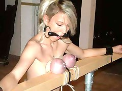 When my slaves are extra naughty I break out the tit clamping machine.