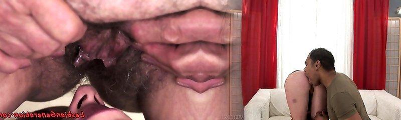 Teen lesbo muffdiving a horny grandma
