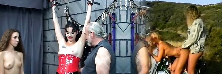 Elderly masochist canes mature dark-haired whores pudgy ass in his dungeon