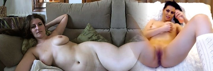 Busty mature brunette with immense boobs and hairy pussy strips