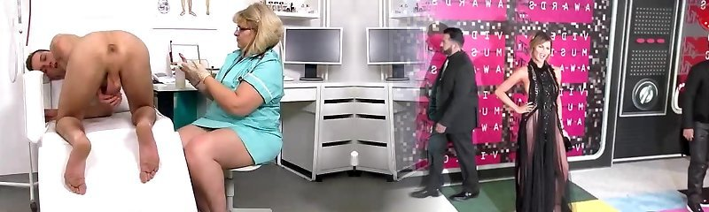Lean boy gets a handjob from fat cougar doctor Anna