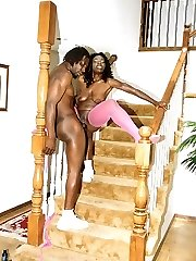 Jiggly black beauty banging her boyfriend on the stairs