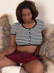 Destany is a very freaky black woman.  Cum see her amazingly beautiful large jugs, and watch her play hide the vibrator