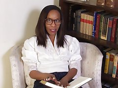 Sapphire is a school teacher that loves to wear a tight white blouse to work that shows off her perky mature black boobs. Watch this freaky mature black women work out at home in a pair of tight white shorts and yellow tank top