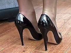 Michelle knows how sexy you feel about women in heels so she takes off her expensive patent leather shoe and kisses it as she talks about what you might do with her shoe