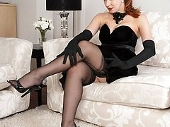 MILF Red is in dominant mood in sheer black FF nylons and merry widi