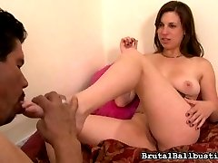 Lacey Lawless' houseboy seems too comfortable in her house. He's walking around naked, smelling her panties, smelling them when they're still on her.