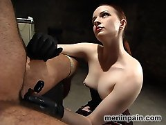 Mistress Claire has been grinding down euro's will for a long time now, and this update is the final in a series of domination videos  featuring the struggle.  Euro hates electricity and the sadistic Miss Adams knows it.  Painful bondage is followed by a crazy electro catheter scene that leaves euro screaming bloody murder as his prick is penetrated and electrocuted.  His only reward is a brutal ass fucking from the sexy domme.