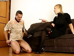 Leashed slave gets sissified and made to lick his mistresss feet and shoes