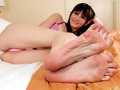Chloe has found her boyfriend in bed with something under the sheets. She lets him have a crack at her feet so she can really get him turned on. After he worships her feet, she lets him fuck her perfect pussy until she squirts all over their room. Then he blasts his load all over her pretty feet.