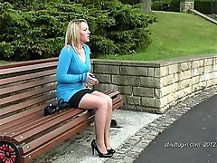 Hannah is very attractive with lovely legs which are enhanced by her short skirt and high heels