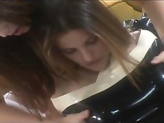 Lesbos in latex play dirty