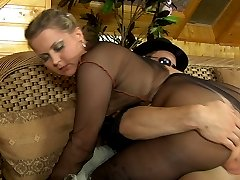 Stacked gal gets pussy eaten and boned thru her fashion sheer-to-waist hose