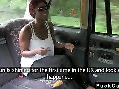 Huge dick interracial fuck in fake taxi