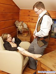 Cute secretary eagerly sucking mighty dick and yummy feet clad in pantyhose