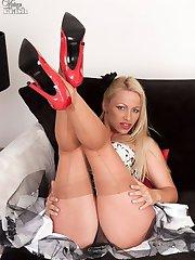 Racy MILF blonde Taylor sheer nylons and panties!