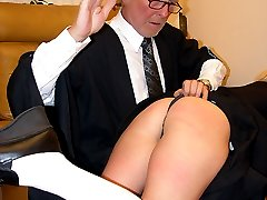 Stunning blonde school girl spanked otk on her navy knickers