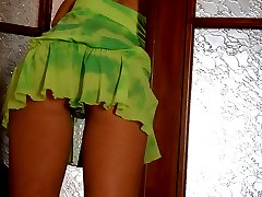Sex-starving sissy guy spreading his stockinged legs for a babes strap-on