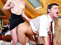 Sexy blonde purchases a strap-on toy after a test-drive on the eager gent
