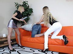 Sexy frisky babes invite their friend to play with his tight anal hole