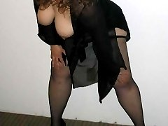 Horny naughty BBW posing with huge tits out