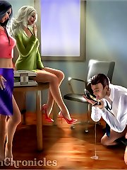 Guy worships two mistresses\' feet and shoes then licks jizz from shoe 3D