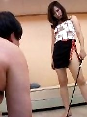 two japanese women spanking men