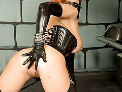 latex French maid polishes dominatrix boots