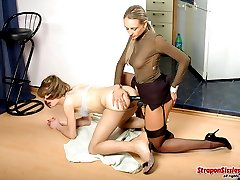 Strap-on armed babe prefers a backdoor while having a date with sissy guy