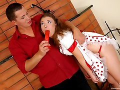 Naughty sissy guy playing frenzied strap-on games with spicy French maid