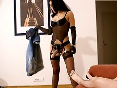 Luscious babe in lingerie drills younger lad's brown flower with no mercy
