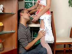 Cutie takes her chance to put to work a strap-on in hot quickie with a guy