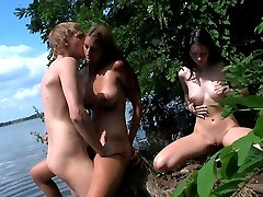 He was hoping these teen cuties would want to go skinny dipping, but these two horny teens...