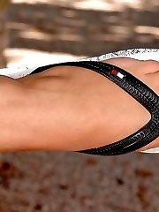 Blonde cutie showing feet