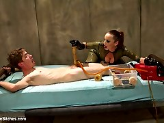 The Divine Bitches have ensnared another unsuspecting slave toy, locking him in their high-tech milking facility - and the seductively terrifying Bella Rossi will stop at nothing to extract the filth coursing deep inside this sub\'s pathetic balls! Rough strap-on anal, OTK spanking, face-sitting, smothering, relentless humiliation, and denial, denial, denial! Mistress Bella even brings out the pumps, forcing this puny cock to stroke itself off inside a machine, before collecting another vial of disgusting male filth serum. Now poor Sam only has a few hours to recover before his next milking!