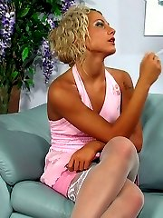 Sugar blonde in lush white nylons swallowing meat before butthole surfing