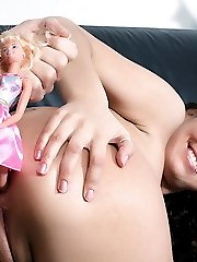 Giuly goes wild as her handsome stud plugs her ass with a barbie doll and butt fucks her with...