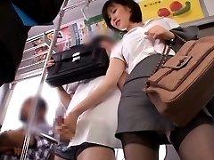 Nanako Mori Asian in tight skirt strokes PublicSexJapan.com