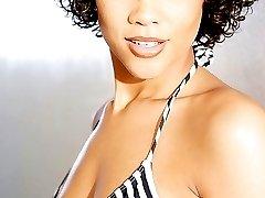 Light skinned ebony princess poses in her bikini