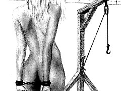 Drawings of painful execution of slim blonde girls
