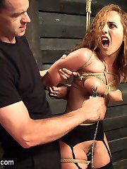 Roxanne Rae loves her tits tied so tight that the nipples are popping out for the nipple clamps....