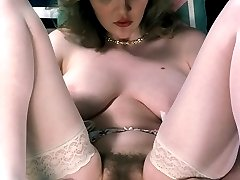 Lusty nymph pussy hair display and dildo play