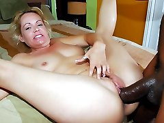 Horny blondie Kelly Leigh got her hairy pussy plowed by a big black cock in this wild...