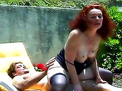 Mature lady sucks and rides a stiff cock then gets her hairy pussy finger fucked