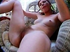 Slim and smooth hairy babe sucking while being fucked on chair